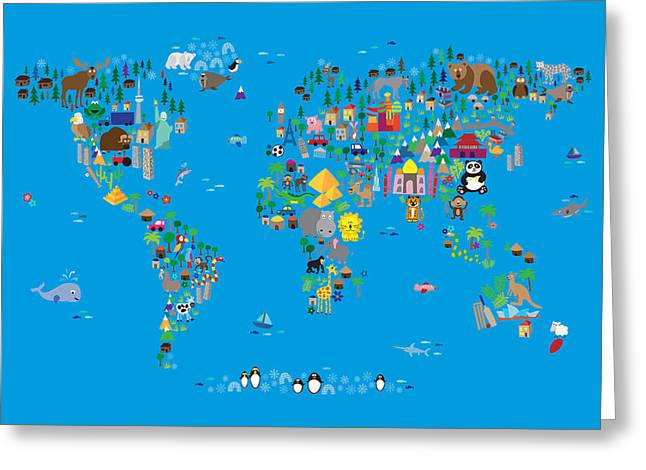 Kid Greeting Cards - Animal Map of the World for children and kids Greeting Card by Michael Tompsett