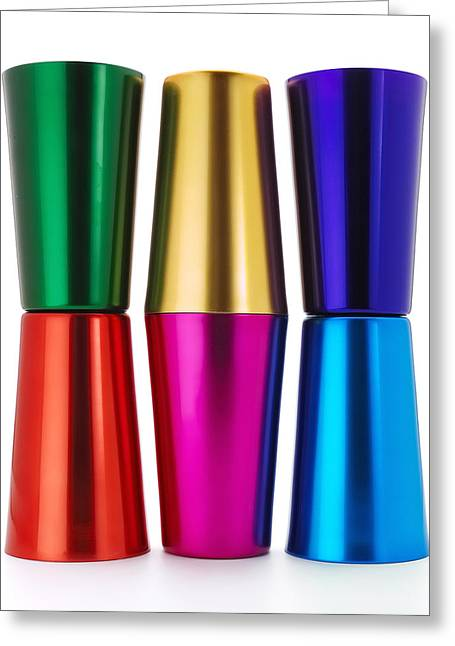 Tumbler Greeting Cards - Anodized Aluminum Tumblers Greeting Card by Jim Hughes