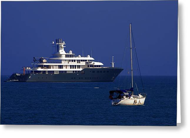 Yacht Greeting Cards - Antibes - Superyachts of Billionaires Greeting Card by Christine Till