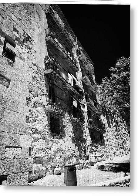 Catalunya Greeting Cards - Apartments And Houses In The Old City Walls Of Roman Ruins Of Tarraco Unesco World Heritage Site Tar Greeting Card by Joe Fox