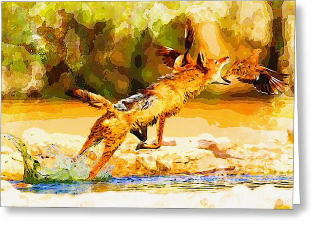 Elephant Seals Digital Greeting Cards - A black-backed jackal  Greeting Card by Don Kuing
