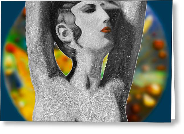 Posters Of Women Greeting Cards - Aphrodite and  Cyprus Map Greeting Card by Augusta Stylianou