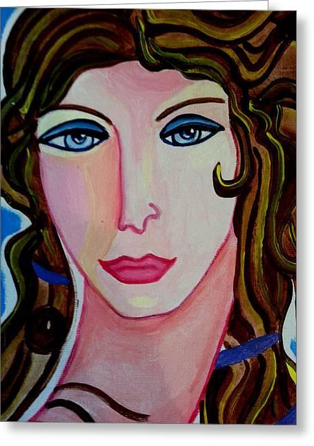 Femal Portrait Greeting Cards - Aphrodite Greeting Card by Nikki Dalton
