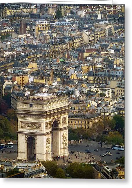 Historic Vehicle Mixed Media Greeting Cards - Arc de Triomphe Greeting Card by Mountain Dreams