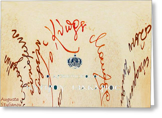 Archbishop Greeting Cards - Archbishop Makarios  Autograph Greeting Card by Augusta Stylianou