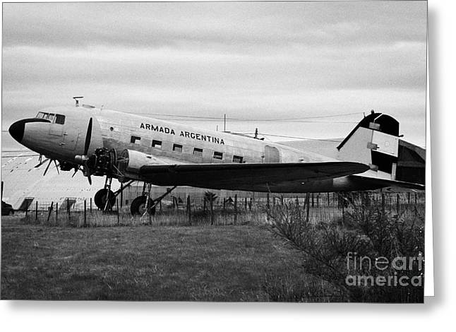 Dc3 Greeting Cards - argentine navy dc-3 cabo de hornos Ushuaia Argentina Greeting Card by Joe Fox