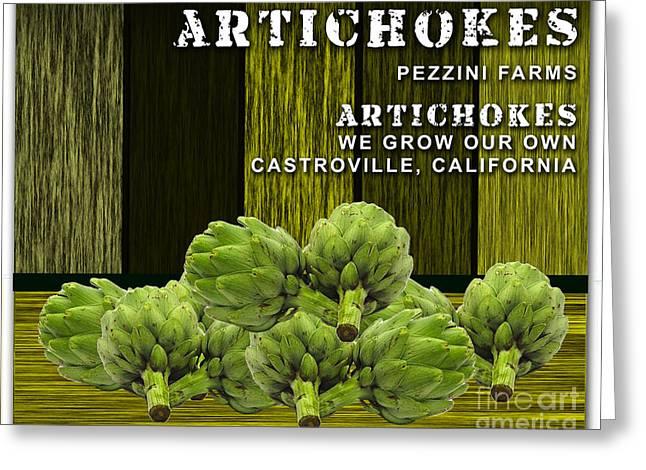 Artichoke Greeting Cards - Artichokes Farm Greeting Card by Marvin Blaine
