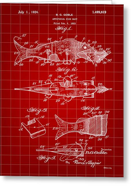 Fish Digital Art Greeting Cards - Artificial Bait Patent 1923 - Red Greeting Card by Stephen Younts