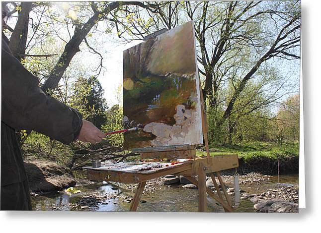 Artist At Work Greeting Cards - Artist at Work Greeting Card by Ylli Haruni