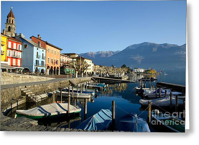 Snow Capped Greeting Cards - Ascona Greeting Card by Mats Silvan