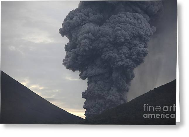 Vulcanology Greeting Cards - Ash Cloud Rising From Tompaluan Crater Greeting Card by Richard Roscoe