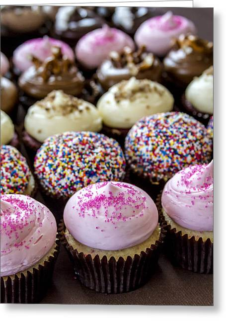 Strawberry Cupcake Greeting Cards - Assorted Flavors of Cupcake on Display Greeting Card by Teri Virbickis