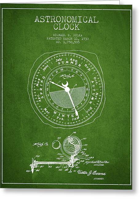 Astronomical Art Greeting Cards - Astronomical Clock patent from 1930 Greeting Card by Aged Pixel