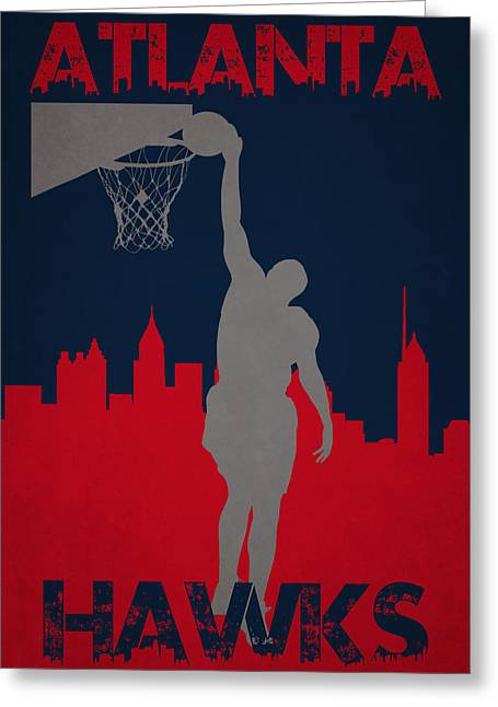 Dunk Greeting Cards - Atlanta Hawks Greeting Card by Joe Hamilton