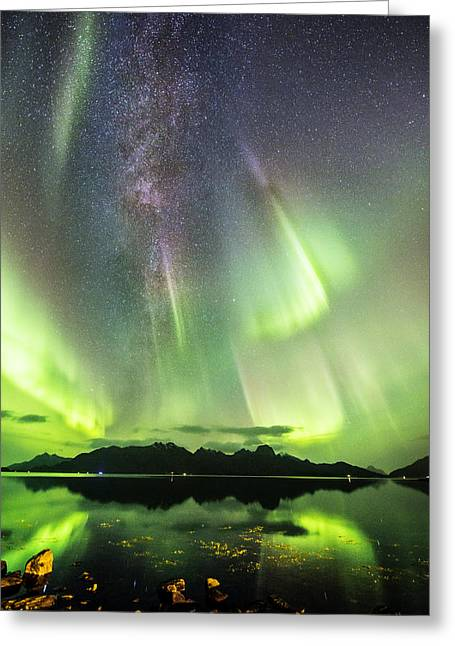 Astrophoto Greeting Cards - Auroras and Milky Way Greeting Card by Frank Olsen