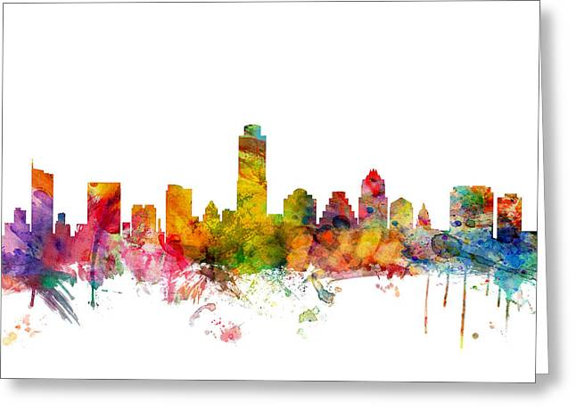 Cityscape Digital Greeting Cards - Austin Texas Skyline Greeting Card by Michael Tompsett