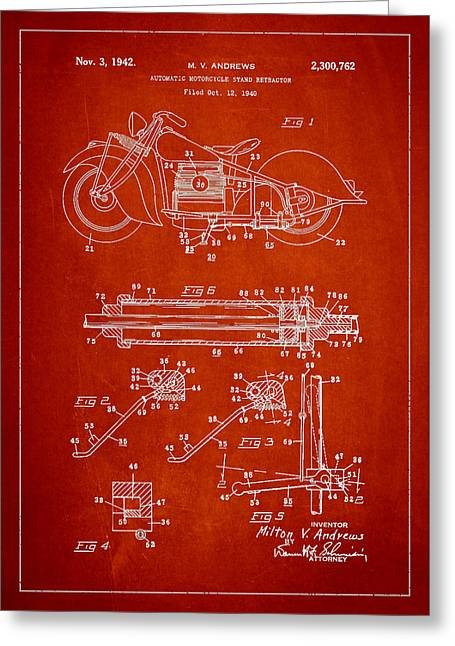 Technical Greeting Cards - Automatic Motorcycle Stand Retractor Patent Drawing From 1940 Greeting Card by Aged Pixel