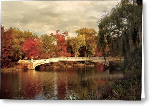 Fall Trees Greeting Cards - Autumn at Bow Bridge Greeting Card by Jessica Jenney
