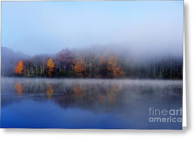 Ducks Lakes Greeting Cards - Autumn Morning Mist Greeting Card by Thomas R Fletcher