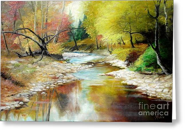 Landscape Framed Prints Greeting Cards - Autumn Greeting Card by Sorin Apostolescu