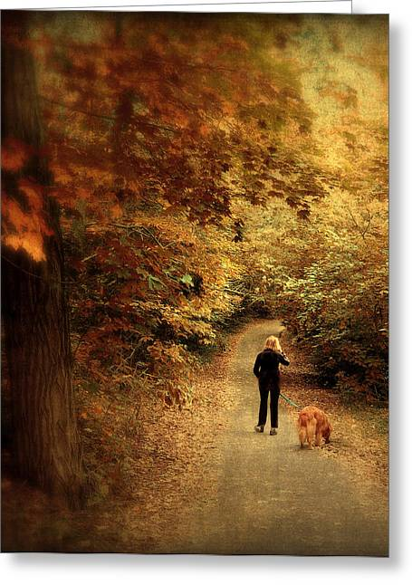 Dog Walking Greeting Cards - Autumn Stroll Greeting Card by Jessica Jenney