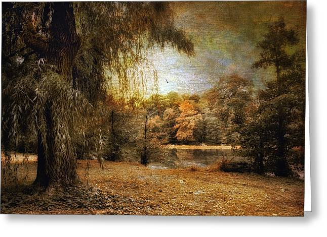 Willow Lake Greeting Cards - Autumns Canvas Greeting Card by Jessica Jenney
