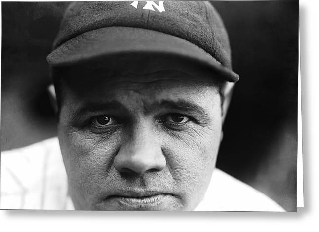 League Greeting Cards - Babe Ruth New York Yankees Greeting Card by Retro Images Archive