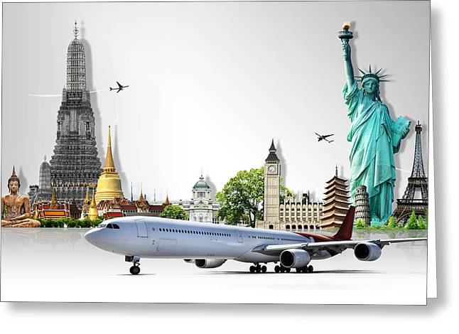 Authentic Inspiration Greeting Cards - Background Travel Concept  Greeting Card by Potowizard Thailand