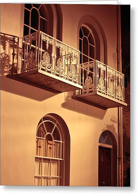 Night Lamp Greeting Cards - Balconies Greeting Card by Tom Gowanlock