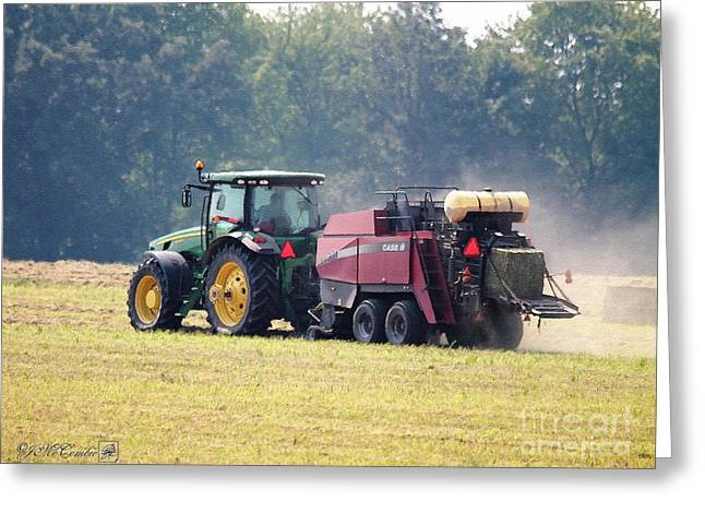 Jem Fine Arts Greeting Cards - Baling Hay Greeting Card by J McCombie