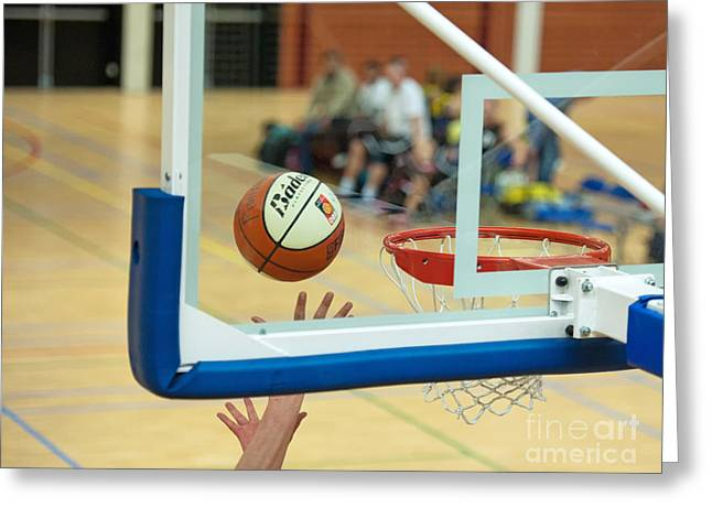 Basket Ball Game Greeting Cards - Ball on its way to the basket Greeting Card by Jan Marijs