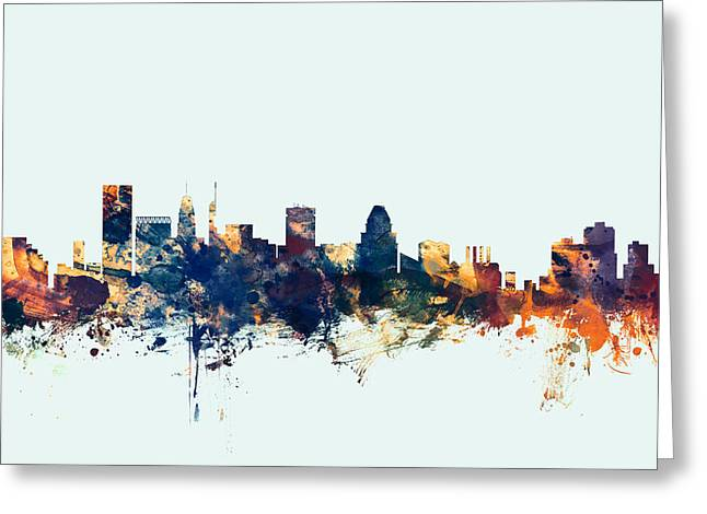 Baltimore Maryland Skyline Greeting Card by Michael Tompsett