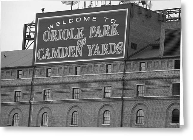 Historic Landmarks Greeting Cards - Baltimore Orioles Park at Camden Yards Greeting Card by Frank Romeo