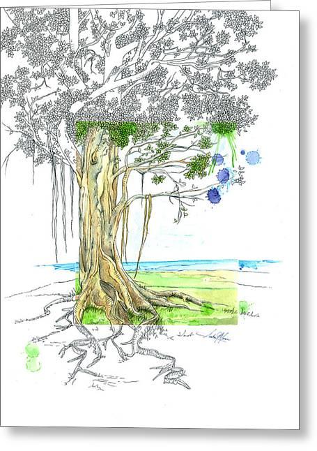 Moran Mixed Media Greeting Cards - Banyan Tree Greeting Card by Amber M  Moran