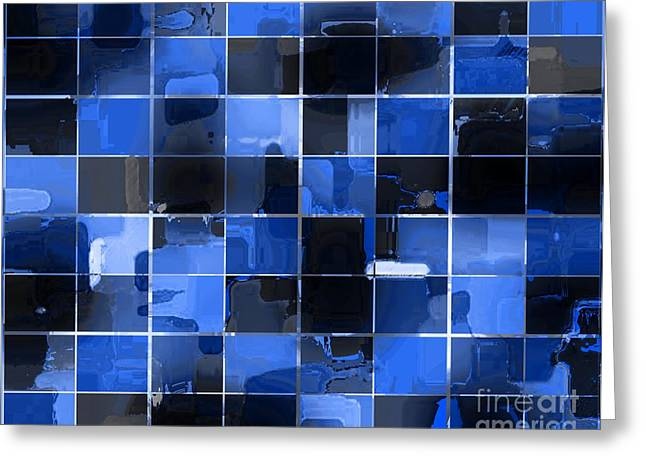 Tiled Tapestries - Textiles Greeting Cards - Tiled Blocks Blue Glow Greeting Card by Barbara Griffin