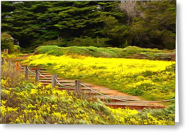 Cambria Greeting Cards - Painting Walkway To The Beach Greeting Card by Barbara Snyder