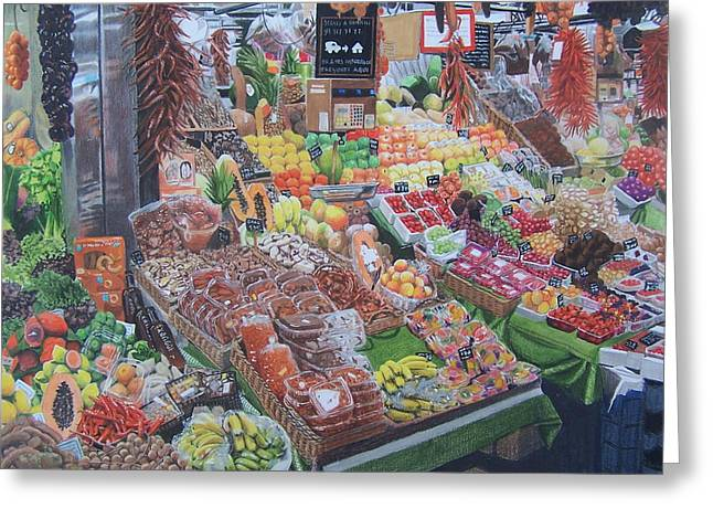 Lettuce Mixed Media Greeting Cards - Barcelona Market Greeting Card by Constance Drescher