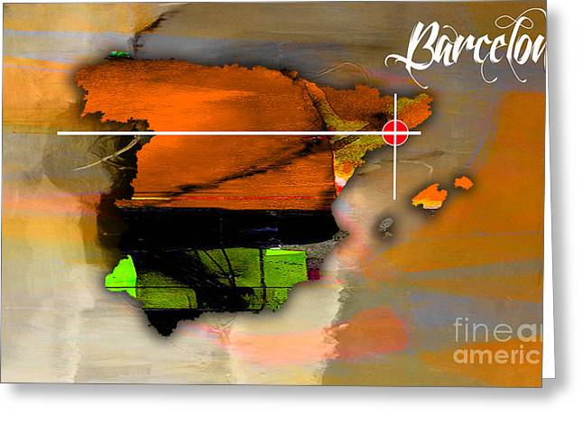 City Skylines Greeting Cards - Barcelona Spain Map Watercolor Greeting Card by Marvin Blaine