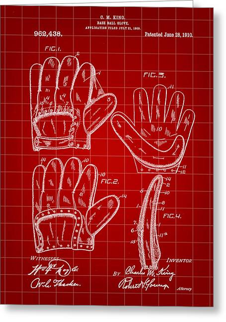 Fast Ball Digital Greeting Cards - Baseball Glove Patent 1909 - Red Greeting Card by Stephen Younts