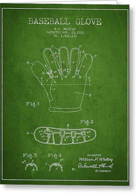 Baseball Art Greeting Cards - Baseball Glove Patent Drawing From 1922 Greeting Card by Aged Pixel