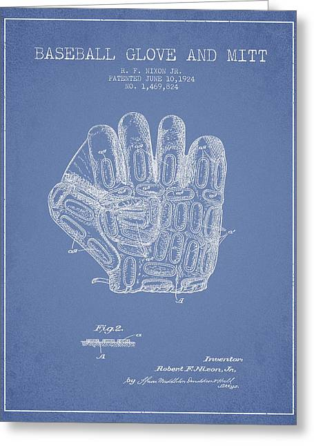 Baseball Art Greeting Cards - Baseball Glove Patent Drawing From 1924 Greeting Card by Aged Pixel