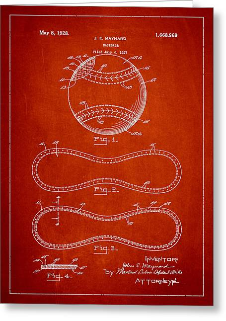 Baseball Bat Greeting Cards - Baseball Patent Drawing From 1927 Greeting Card by Aged Pixel