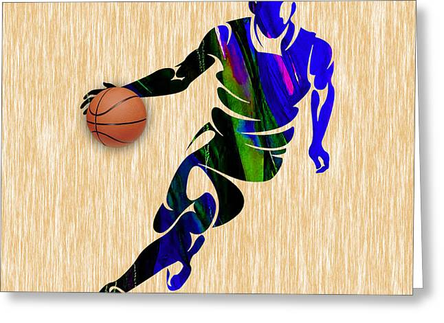 Man Cave Greeting Cards - Basketball Greeting Card by Marvin Blaine