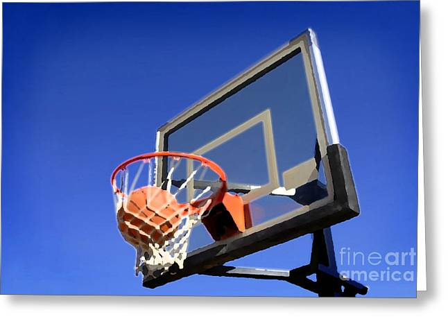 Basket Ball Game Mixed Media Greeting Cards - Basketball Shot Greeting Card by Lane Erickson