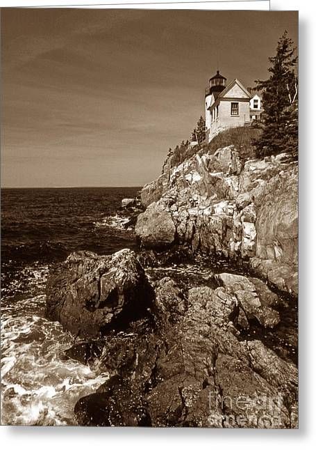 Maine Beach Greeting Cards - Bass Harbor Head Lighthouse Greeting Card by Skip Willits