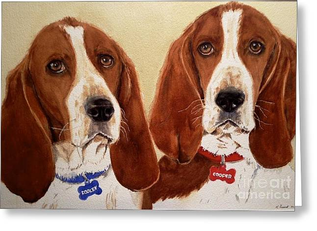 Basset Hound Greeting Cards Greeting Cards - Basset Hounds Greeting Card by Kathy Flood