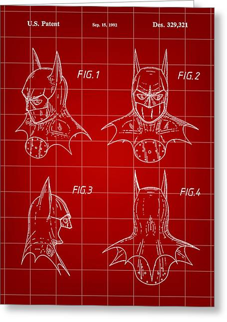 Caped Crusader Greeting Cards - Batman Patent 1992 - Red Greeting Card by Stephen Younts