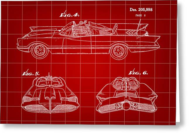 Caped Crusader Greeting Cards - Batmobile Patent 1966 - Red Greeting Card by Stephen Younts