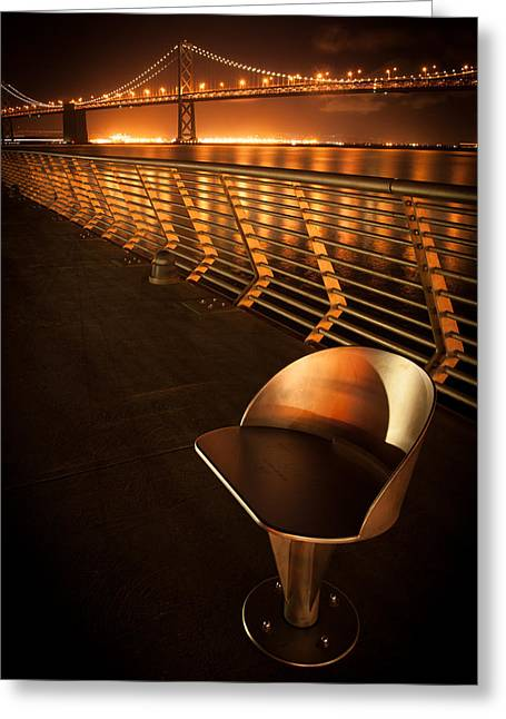 Famous Bridge Greeting Cards - Bay Bridge at night Greeting Card by Celso Diniz