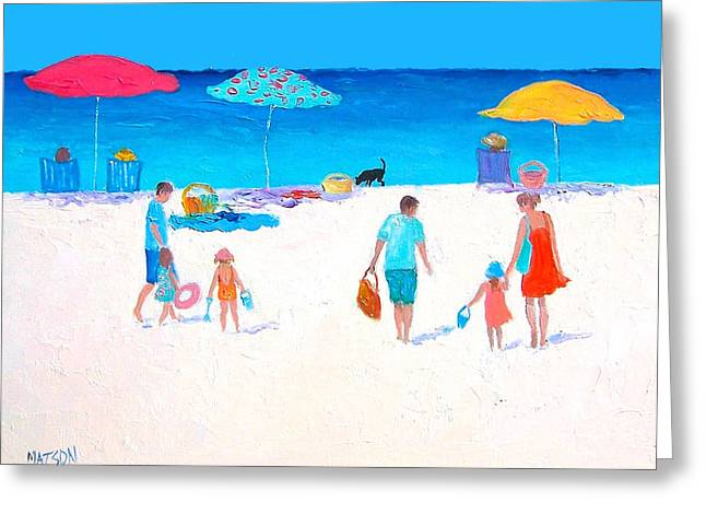 People At The Beach Greeting Cards - Beach Day Greeting Card by Jan Matson